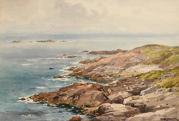 Frank J. Egginton, Currach off the Coast at Morgan O'Driscoll Art Auctions