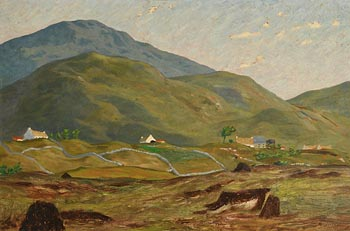 Ciaran Clear, Landscape with Cottages, Donegal at Morgan O'Driscoll Art Auctions