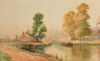Alexander Williams, Barges on the Canal (1890) at Morgan O'Driscoll Art Auctions