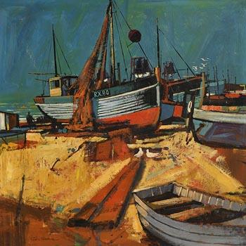 John Skelton, Fishing Boats, Kilkeel, Co Down at Morgan O'Driscoll Art Auctions