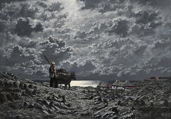 Ciaran Clear, Moonlight Connemara Coast at Morgan O'Driscoll Art Auctions