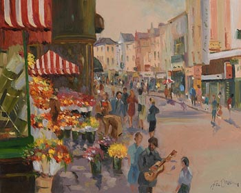 Liam Treacy, Flower Sellers, Grafton Street at Morgan O'Driscoll Art Auctions