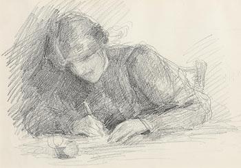 John Butler Yeats, Woman Writing (c.1894-95) at Morgan O'Driscoll Art Auctions