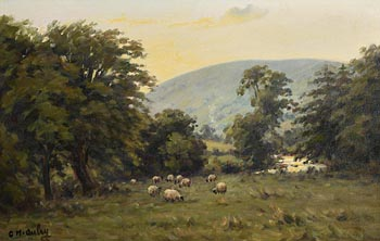 Charles J. McAuley, Sheep Grazing at Sunset, Glens of Antrim at Morgan O'Driscoll Art Auctions