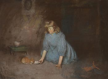 Robert Gemmell Hutchison, The Kitten's Milk at Morgan O'Driscoll Art Auctions