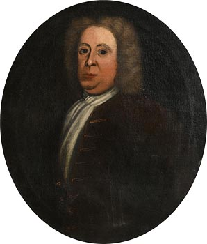 English School (18th Century), A Portrait of a Gentleman(possibly of the Cradock family, wearing a wig and a white stock) at Morgan O'Driscoll Art Auctions