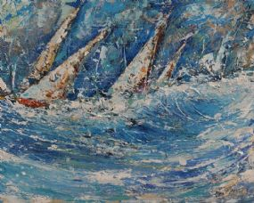 Don Meaney (20th/21st Century), Racing off Old Head of Kinsale at Morgan O'Driscoll Art Auctions