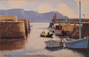 Cecil Maguire RHA RUA (b.1930), Purteen Harbour, Achill Island, Co. Mayo at Morgan O'Driscoll Art Auctions