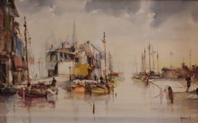 Jorge Aquilar-Agon FRSA, AAPB, AEA, (b.1936) Spanish, Harbour, Barcelona at Morgan O'Driscoll Art Auctions