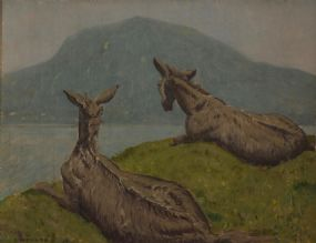 Patrick Leonard HRHA (1918-2005), Donkey's on Cliff Edge at Morgan O'Driscoll Art Auctions