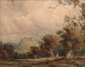 Wycliffe Egginton RI RCA (1875-1951), Shepherd with Sheep before Hilltop Castle at Morgan O'Driscoll Art Auctions