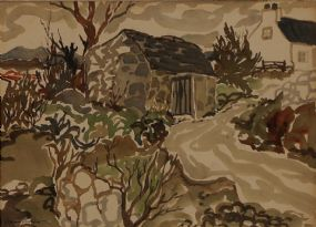 James MacIntyre RUA (b.1926), Barn and Farmhouse Lane at Morgan O'Driscoll Art Auctions