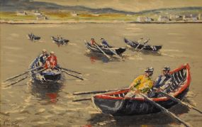 Ivan Sutton (b.1944), Before the Currach Race, Aran Mor at Morgan O'Driscoll Art Auctions