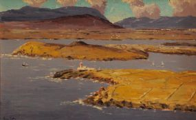 Ivan Sutton (b.1944), View from Geokaun Hill Valentia Island Over Lighthouse & Beginish Island at Morgan O'Driscoll Art Auctions