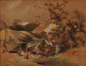 Erskine Nicol RSA ARA (1825-1904), Children at Play Outside Farmyard Barn at Morgan O'Driscoll Art Auctions