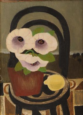 Mary Fedden RA (b.1915), Three Flowers in a Brown Pot at Morgan O'Driscoll Art Auctions
