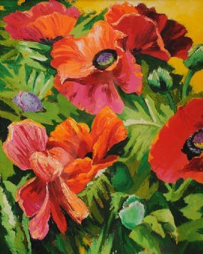 Kenneth Webb RWA FRSA RUA (b.1927), Five Poppies at Morgan O'Driscoll Art Auctions