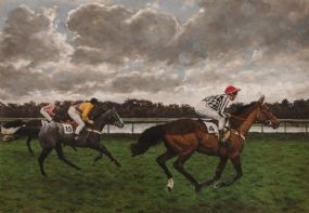 Jay Boyd Kirkman (b.1958) British, Going Down at Kempton at Morgan O'Driscoll Art Auctions