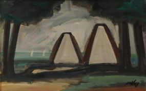 Markey Robinson (1918-1999), Two Gables, Two Boats and Two Trees at Morgan O'Driscoll Art Auctions