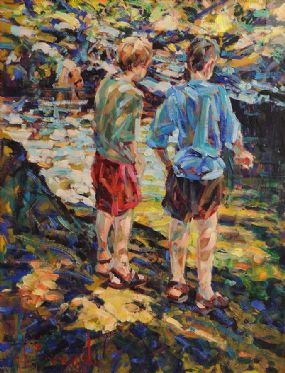Arthur K. Maderson (b.1942), Padraig and Andrew, Stroud Pool at Morgan O'Driscoll Art Auctions