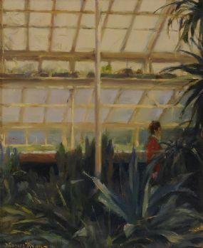 Thomas Ryan PPRHA (b.1929), Lady in Red in Cactus House at Morgan O'Driscoll Art Auctions