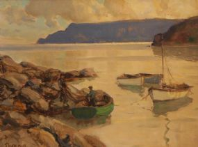 James Humbert Craig RHA RUA (1878-1944), Mending the Nets Cushendun at Morgan O'Driscoll Art Auctions