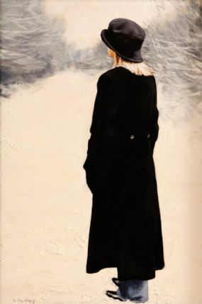 Gerard M. Burns (20th/21st Century) Scottish, Woman in Winter Landscape at Morgan O'Driscoll Art Auctions