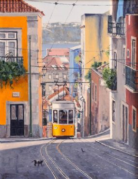 Virgilio Raposo (20th/21st Century) Portuguese, Lisbon Street Scene at Morgan O'Driscoll Art Auctions
