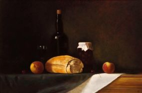 Ian McAllister (20th/21st Century), Still Life with Bread and Peaches at Morgan O'Driscoll Art Auctions