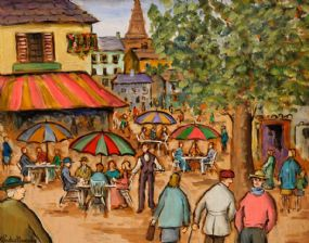 Gladys MacCabe ROI FRSA MA HRUA (1918-2018), Cafe in Montmatre, Paris at Morgan O'Driscoll Art Auctions