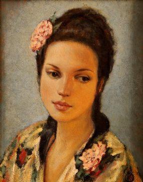 Ken Hamilton (b.1956), Girl with Camellias, Thea at Morgan O'Driscoll Art Auctions
