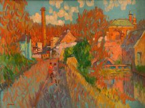 Desmond Carrick RHA (b.1928), Hills Mills and Tea Rooms, Lucan at Morgan O'Driscoll Art Auctions