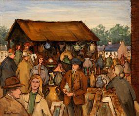 Gladys MacCabe ROI FRSA MA HRUA (1918-2018), Market Stall at Morgan O'Driscoll Art Auctions