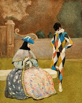 Romeo Costetti (1871-1957) Italian, Pierrot & Female in a Courtyard at Morgan O'Driscoll Art Auctions