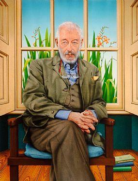Robert Ballagh (b.1943), Portrait of J. P. Dunleavy at Morgan O'Driscoll Art Auctions