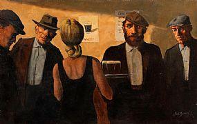 Ted Jones (b.1952), The New Barmaid at Morgan O'Driscoll Art Auctions