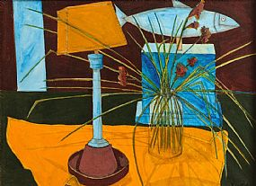Graham Knuttel (b.1954), Still Life - Lamp and Vase of Flowers at Morgan O'Driscoll Art Auctions