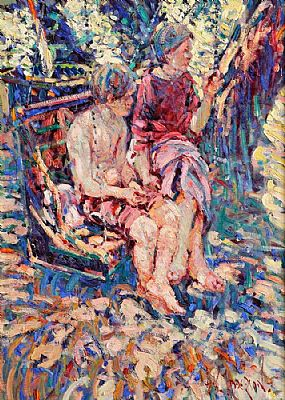 Arthur K. Maderson (b.1942), The Garden Swing - Artists Children Padraig & Ciara at Morgan O'Driscoll Art Auctions