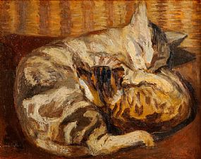 George Campbell RHA RUA (1917-1979), Sleeping Cats at Morgan O'Driscoll Art Auctions