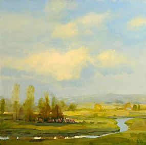 Joop Smits (20th/21st Century), Cattle Grazing by the River at Morgan O'Driscoll Art Auctions