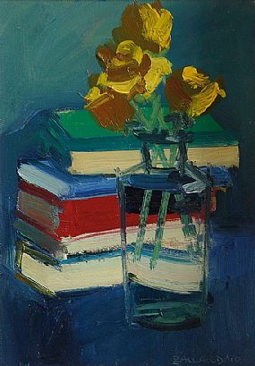 Brian Ballard RUA (b.1943), Still Life, Yellow Roses and Books at Morgan O'Driscoll Art Auctions