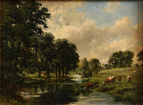 Alfred Grey RHA (1845-1926), Cattle Grazing by the Stream at Morgan O'Driscoll Art Auctions