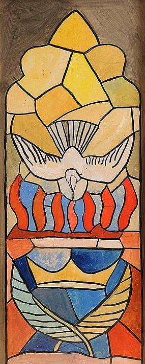 Evie Hone HRHA (1894-1955), Doves With Tongues (design for stained glass) at Morgan O'Driscoll Art Auctions