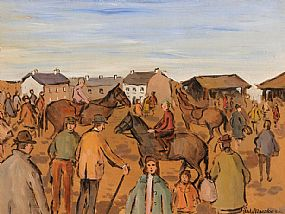 Gladys MacCabe ROI FRSA MA HRUA (1918-2018), Fair Day Market at Morgan O'Driscoll Art Auctions