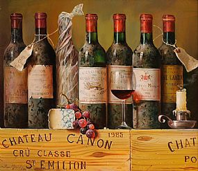 Raymond Campbell (b.1956) British, Still Life, Bottles of Wine at Morgan O'Driscoll Art Auctions