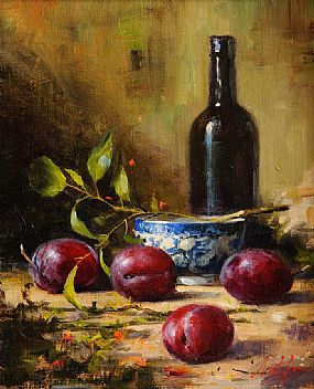 Mat Grogan (20th/21st Century), Still Life with Plums and Blue Bowl at Morgan O'Driscoll Art Auctions