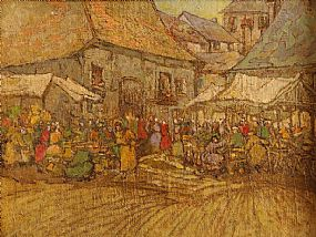 Georgina Moutray Kyle (1865-1950), Market Stalls at Morgan O'Driscoll Art Auctions