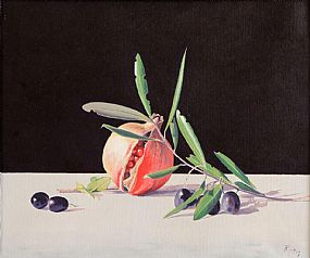 Virgilio Raposo (20th/21st Century) Portuguese, Still Life, Pomegranate and Olives at Morgan O'Driscoll Art Auctions