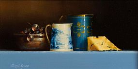 David Ffrench Le Roy (b.1971), Still Life With Blue Tableware and Stilton Cheese at Morgan O'Driscoll Art Auctions