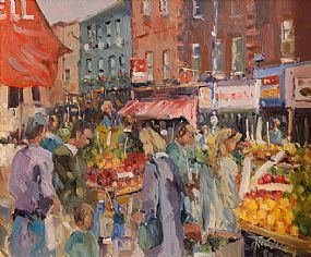 Liam Treacy RHA (1934-2005), Moore St. Dublin at Morgan O'Driscoll Art Auctions